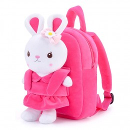Kids Backpack Girl Toys Toddler Backpack For Girls With Stuffed Bunny Toy Rose Red