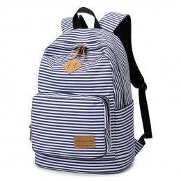 Stripe Canvas Backpack For Girls School Travel Daypack