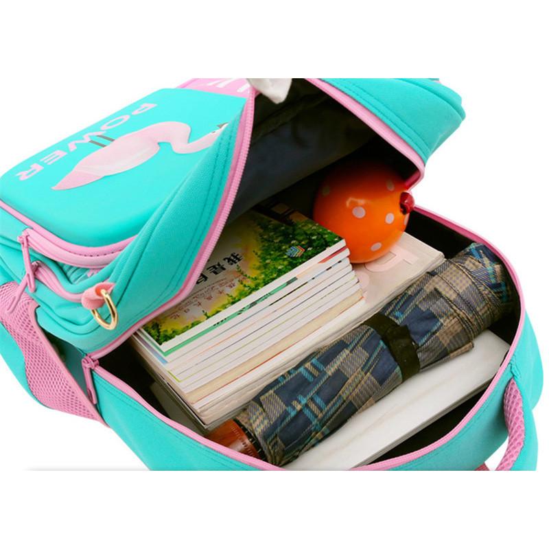 3D Flamingo School Bags For Girls Cartoon Backpack Children Student Backpacks