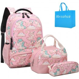 Unicorn School Backpacks with Lunch Bag Pencil Case for Girls and Boys Kids Bookbag 3 in 1 school Bag