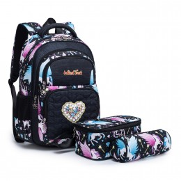 Kids School Backpack for Girls Elementary Student Bags with Insulated Lunch Bag Pencil Case
