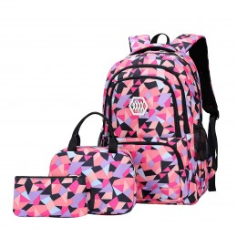 Girl Geometric Printed Primary Junior High University School Bag Bookbag 3pcs Backpack Sets