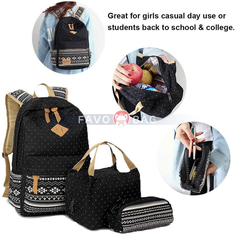 Teen Girls Canvas School Daypack/Lunch Box/Pencil Case