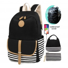 School Backpacks for Women Teen Girls with USB Charging Port and Backpack Rain Cover