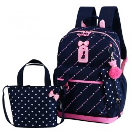 Bowknot Primary Schoolbag Daypack Shoulder Bag Girls Rucksack with Lunch box Pencil case