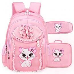 Cat Printing Backpack Princess School Bag Kids Bookbag Handbag Pen Bag Set for Primary Girls