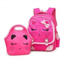 Cat Face Bow Diamond Bling Waterproof Pink School Backpack Girls Book Bag
