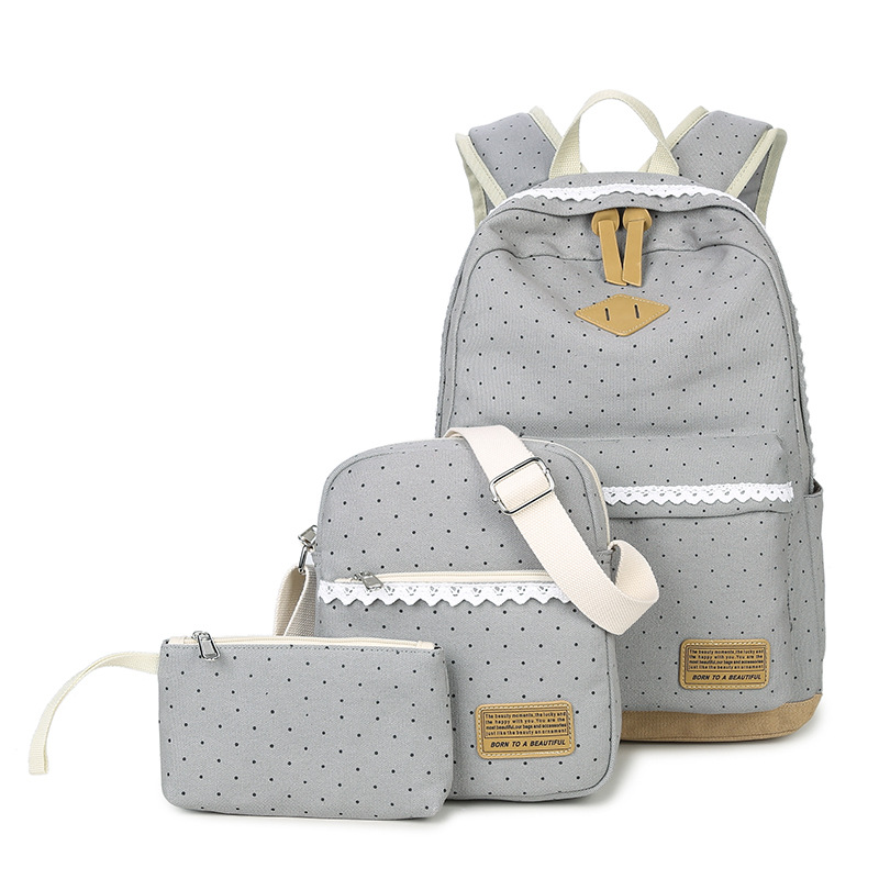 Three-piece Dot Printed Canvas Travel Backpack Girls Schoolbag Shoulder Bag with Pencil Case