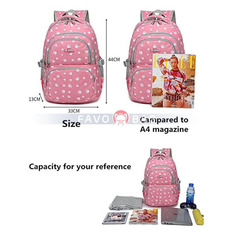 3Pcs Dog Paw Prints Junior Schoolbag for Teens Girls Primary School Backpack Set with Lunch Kits