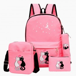 4Pcs Cat Prints Canvas School Rucksack Backpack Set for Girls Elementary Bookbag