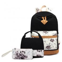Lightweight Canvas Girls Bookbags for School Teen Girls Backpacks With Lunch Bag