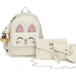 Women Cat Backpacks Set for Cartoon Rabbit Small Purse Shoulder Bags