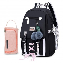 Student Nylon Water Resistant Daypack Schoolbag Bookbag with USB Charging Port