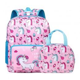 Pink School Bookbag For Elementary Kindergarten Student With Lunch Bag