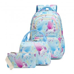 kid's Unicorn Backpack for Elementary School Bookbag with Lunch Box Pencil Case