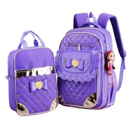 Students Polyester School Backpack and Lunch Bag 2 Sets for Primary Girls Waterproof School Bag