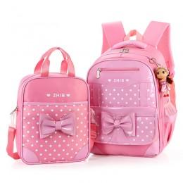 Bow Pu Waterproof School Backpack Girls Book Bag With Handbag