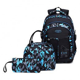 School Backpack For Boys Cool Camouflage Bookbags With Lunch Box Pencil Case 3Pcs For Middle School