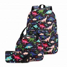 Cute Lightweight Kids School Bookbags Dinosaur Boys Backpacks With Lunch Bag
