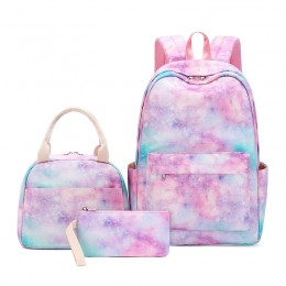 Girls School Backpack Galaxy Schoolbag Fit 15Inch Laptop Bookbag Insulated Lunch Bag For Teens Boys Kids Travel Daypack