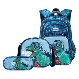 3Pcs Dinosaur Backpack Set With Lunch Box Pencil Case School Book Bag For Kids Elementary Preschool