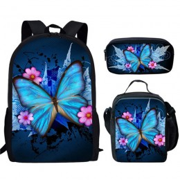Canvas Backpack Blue Butterfly Children Girls School Book Bags Set With Lunch Bags Pencil Case