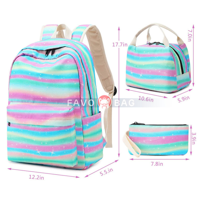 "15"" Laptop Backpack Daypack Kids School Bag Bookbag With Lunch Bag Pencil Case"