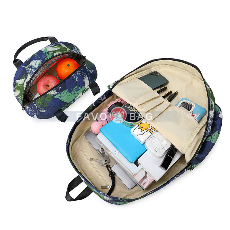 3Pcs Leaves Backpack Set With Lunch Box Pencil Case School Book Bag