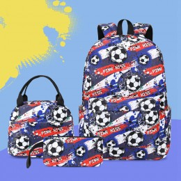 3Pcs Football Backpack Set With Lunch Box Pencil Case School Book Bag