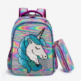 Sequined Backpack Two-Piece Schoolbag Female Backpack For Primary And Middle School Students