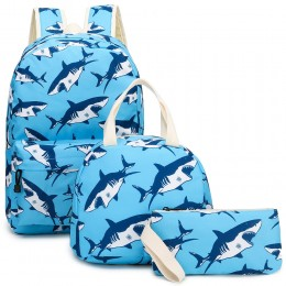 3Pcs Shark Backpack Set With Lunch Box Pencil Case School Book Bag