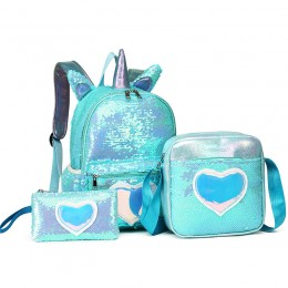 Sequined Backpack Three-Piece Schoolbag Female Backpack For Primary And Middle School Students
