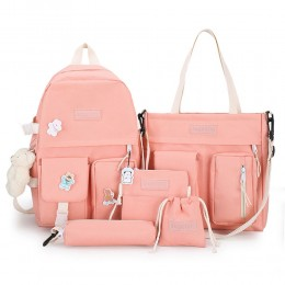 5 Pieces Cute Girls Backpack Set Classical Canvas Bookbag Shoulder Bag With Wallet