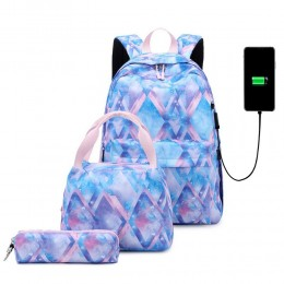 Top Level Stylish Printing Backpack Set For Teen Girls With Usb Charging Port