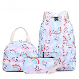Kids Unicorn Backpack Set for School Durable Waterproof Bookbag