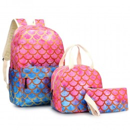 3 in 1 Mermaid Backpack Set with Lunch Box Fun Animal Printing Pencil Case