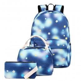 Cartoon Star Prints Backpack 3 in 1 Bookbags for Teens Top Level Cute School Bags