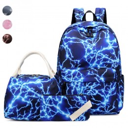 Girl's Galaxy Prints School Bookbag with Lunch Bag Pencil Case Backpack Set for Middle School