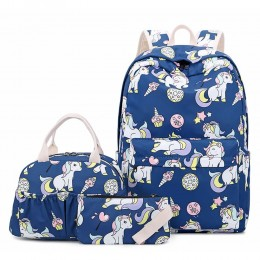 """14"""" Laptop Bag with Lunch Bag Unicorn Prints College Bag for Teens Cute Cartoon Backpack Set"""