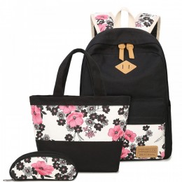Floral Printed School Backpack Sets with Lunch Bag and Pencil Case