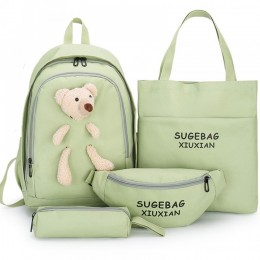 4Pc Cute Backpack For Teen Girls School Book Bag With Toy
