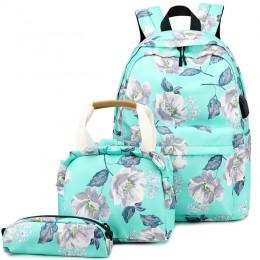 Teenagers Backpacks Girls 3 Pcs Bags Sets Nylon Middle School Student Girl Bookbag College Women Backpacks Casual Lady Packsack