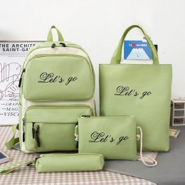 Canvas Women Backpack 4 Pcs Sets School Backpacks Book Bags For Teenager Girls 2021