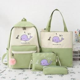 4 Piece Set Schoolbags Teenage Girls Women Backpack Fashion School Bag Casual Female Backpack Classical Laptop Shoulder Bags