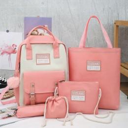5 Pcs Sets Canvas School Bags For Teenage Girls Women New Trend Female Backpack Nylon Women Backpack Child Student Shoulder Bag