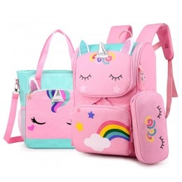 Cute School Briefcase Backpack For Girls Unicorn Pattern School Bag 3Pcs Set Pencil Case Tote Messenger Bags Kids Book Bacpack
