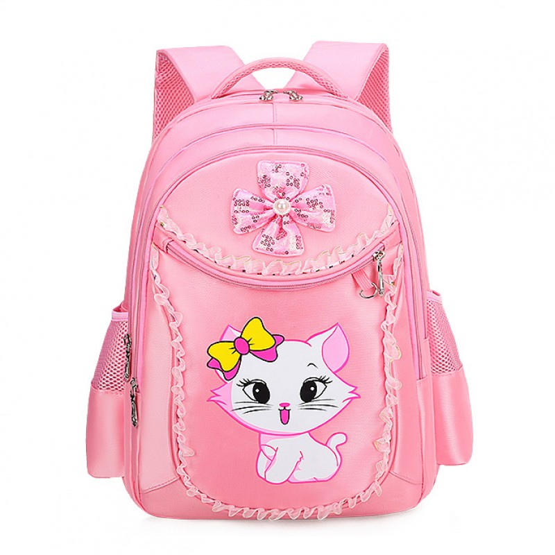 3 Pieces Pink Cat Children Backpack School Bags For Girls Cartoon Kid Backpack Kitty Printing Bookbag