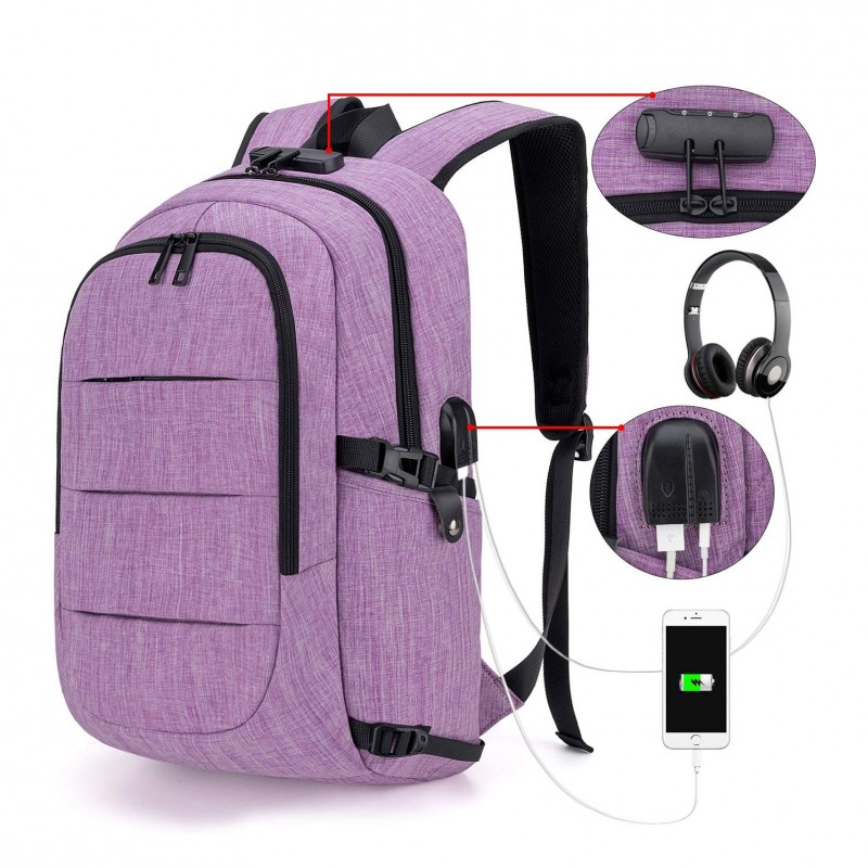 Travel Laptop Backpack Water Resistant Anti-Theft Bag With Usb Charging Port