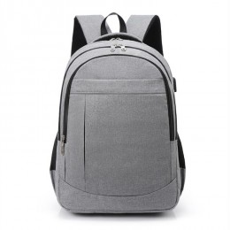Grey Travel Laptop Backpack College School Bag Casual Daypack With Usb Charging Port