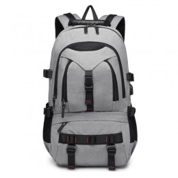 Gray Water Resistant Laptop Backpack Computer School Bag With Usb Charging Port And Lock